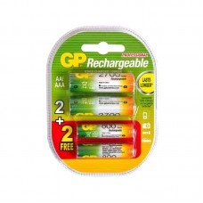 Аккумуляторная батарейка AA (R-6) GP 2700 mAh + (R-3) GP 800 mAh (4шт на блистере)