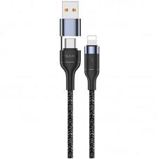 Cable Usams US-SJ404 Fast Charging U31 Type-C/USB -> iPhone X Black 1.2m