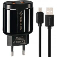СЗУ Gelius Pro Avangard GP-HC06 2USB 2.4A + Cable MicroUSB Black
