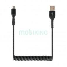 USB Cable Economic Spring 2A MicroUSB Black