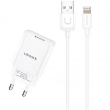 СЗУ 1USB Usams T21 (2.1A) White + USB Cable iPhone X