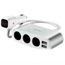 Автомобильный разветвитель Hoco Z13 LCD + 2USB Silve/White