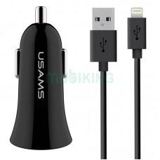 АЗУ 2USB Usams С13 (2.1A) Black + USB Cable iPhone X (NTU35LC13TZ)
