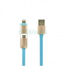 USB Cable Optima Double Flat MicroUSB/iPhone 6 (C-021) Blue